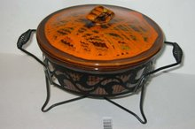 old vintage RETRO FUNKY CASSEROLE dish w metal holder