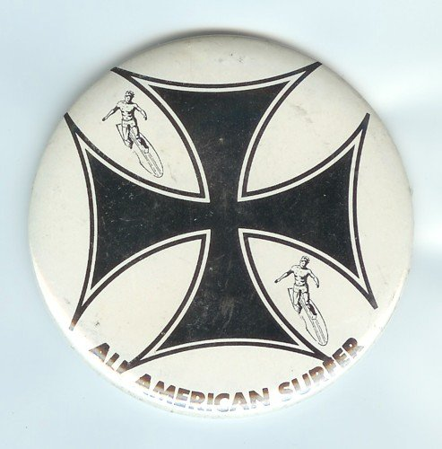 old vintage 1960s All American Surfer Pinback