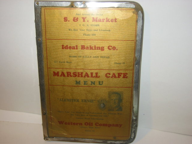 MARSHALL CAFE DINER MENU