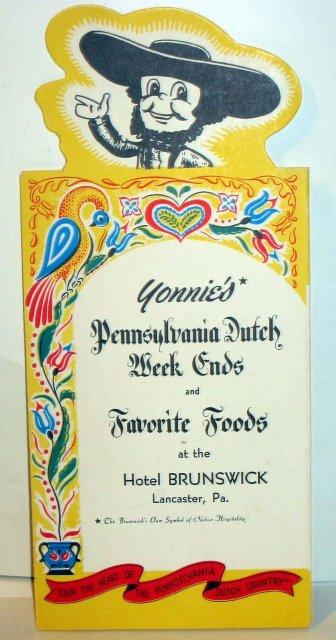 old vintage 1958 PENNSYLVANIA DUTCH Hotel menu