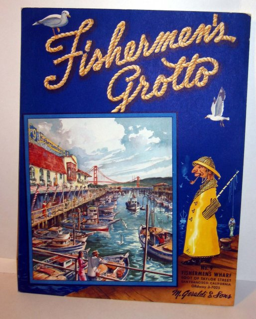 old vintage 1940s FISHERMAN'S GROTTO MENU