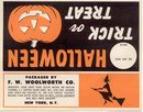 old vintage 1950s WOOLWORTHS HALLOWEEN witch label
