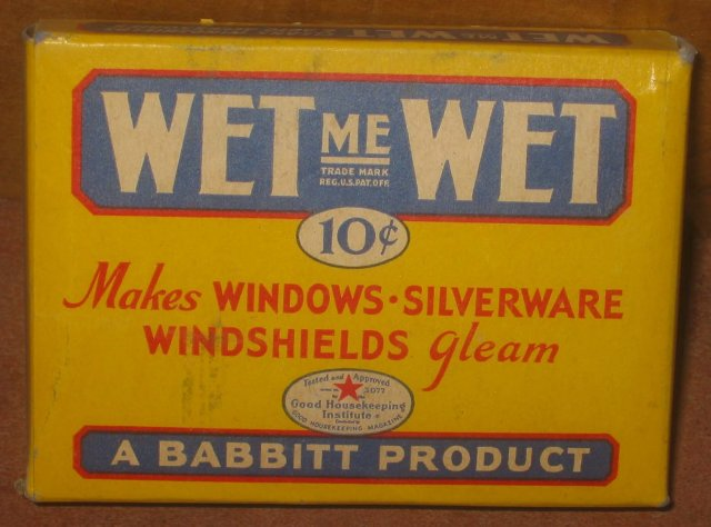 old vintage 1950s WET ME WET Full Box Window Clean Wipes