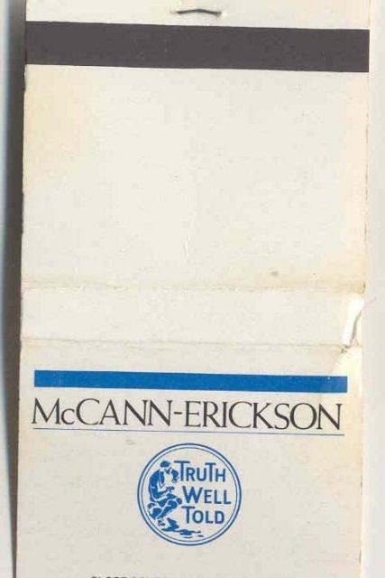 old vintage McCann Erikkson Matchbook