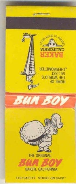 old vintage Bun Boy Hamburger matchbook