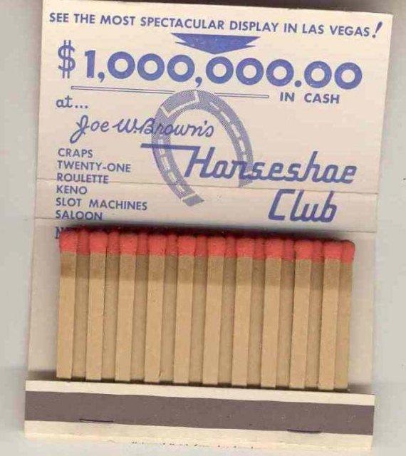 Joe Brown's Horseshoe Club Vegas Matchbook ~ Sexy pinup girl