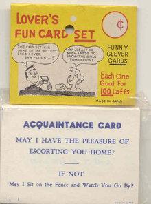 Lover's Novelty Joke Cards in Pack
