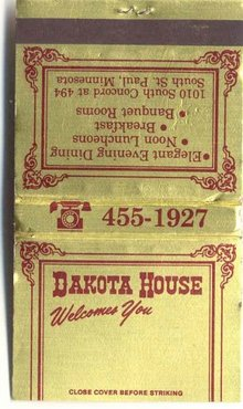 vintage DAKOTA HOUSE metallic matchbook