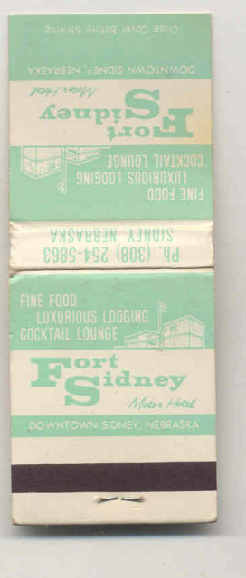 old vintage FORT SIDNEY Nebraska Matchbook