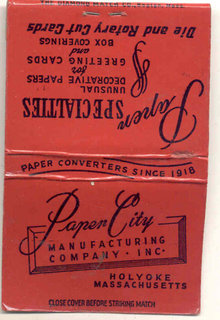 old vintage PAPER CITY Holyoke Mass Matchbook
