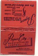 old vintage PAPER CITY Holyoke Mass Matchbook
