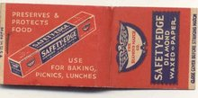 old vintage SAFETY EDGE DIAMOND Wax Paper Matchbook
