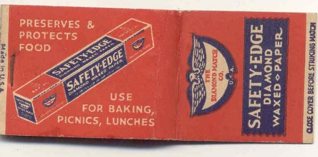 old vintage SAFETY EDGE DIAMOND Wax Paper Matchbook