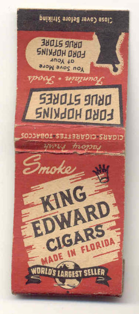 old vintage used KING EDWARD CIGARS matchbook