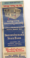 old vintage used DROVERS EXCHANGE STATE BANK St Paul Minn matchbook