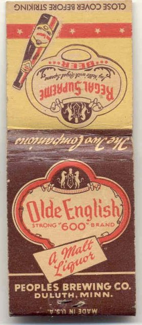 old vintage OLDE ENGLISH MALT LIQUOR matchbook