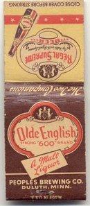 old vintage OLDE ENGLISH MALT LIQUOR matchbook