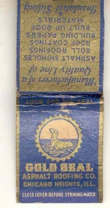 old vintage GOLD SEAL ASPHALT ROOFING Matchbook