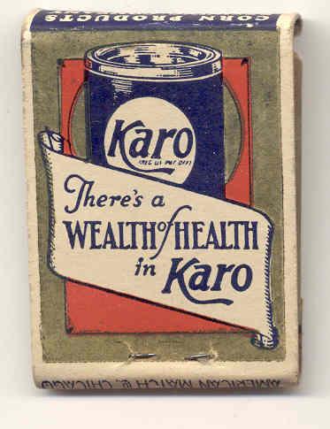 old vintage 1930s KARO SYRUP MATCHBOOK