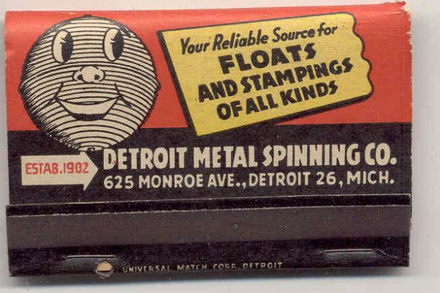 old vintage 1960S DETROIT METAL SPINNING MATCHBOOK full
