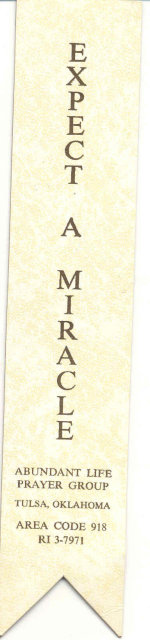old vintage 1970S EXPECT A MIRACLE Bookmark