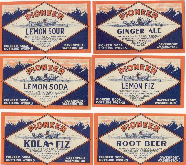 6 old vintage PIONEER SODA LABELS