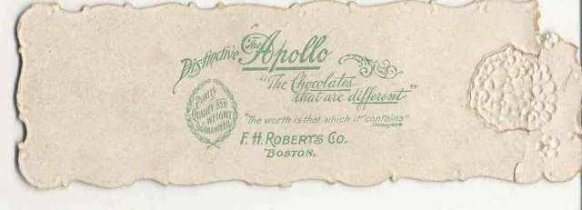 old vintage DIE CUT EMBOSSED Apollo Chocolates Bookmark