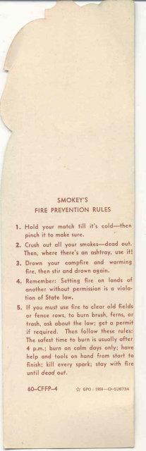 Smokey the Bear Diecut Bookmark