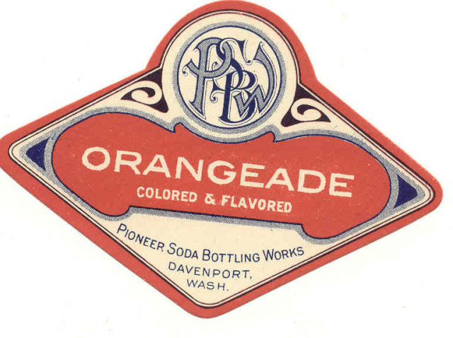 old vintage PIONEER ORANGEADE SODA LABEL