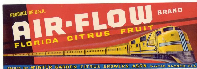 Air Flow Florida Citrus Fruit Label
