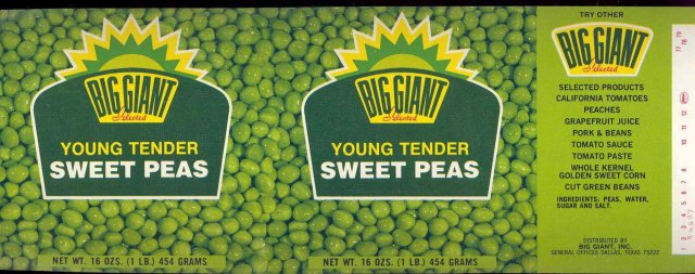 Big Giant Tender Peas Vegetable Can Label