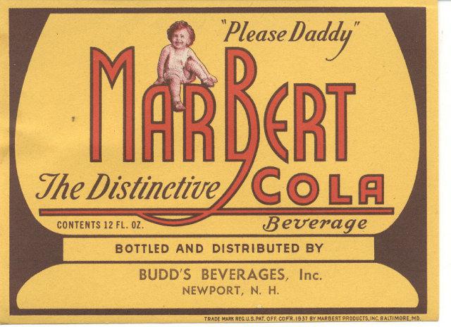 old vintage 1937 MARBERT COLA SODA LABEL