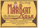 old vintage 1937 MARBERT COLA SODA LABEL
