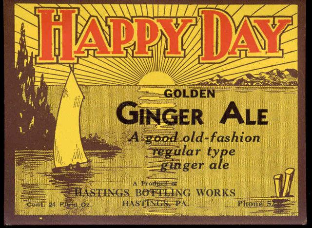 old vintage 1940s HAPPY DAY GINGER ALE label