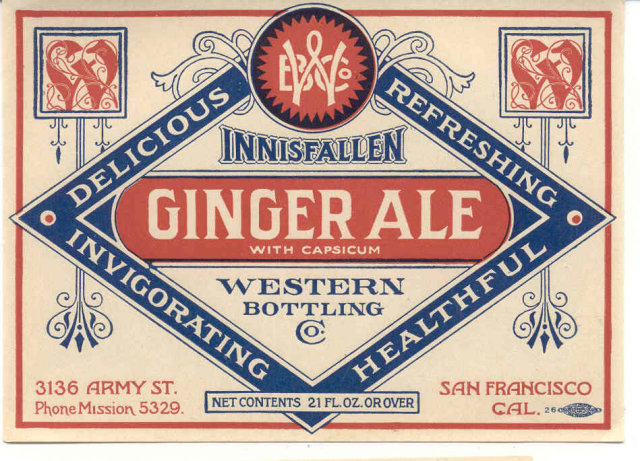 old vintage 1940s INNISFALLEN GINGER ALE SODA label