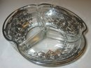 Silver Overlay Glass Candy Dish