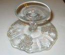 old vintage Silver Overlay Glass Floral Cake