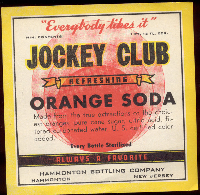 old vintage 1940s JOCKEY CLUB Orange Soda Label