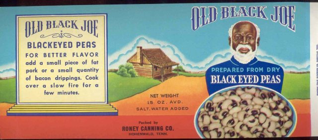 Old Black Joe Blackeyed Peas Can Label