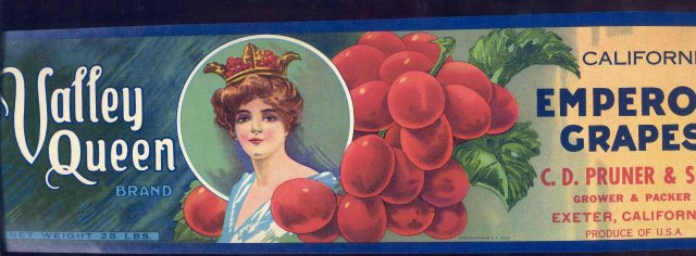 Valley Queen Emperor Grapes Crate Label
