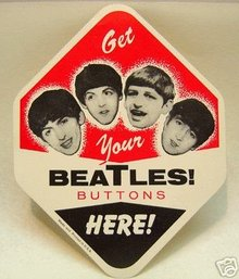 Beatles Button Vending Paper Card