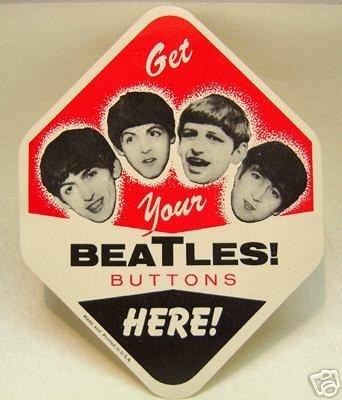 Beatles Button Vending Paper Card