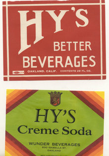 2 old vintage HY'S ART DECO SODA LABELS