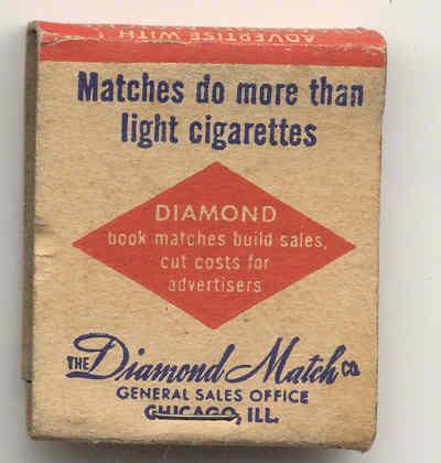 old vintage NYC DIAMOND MATCHBOOK used