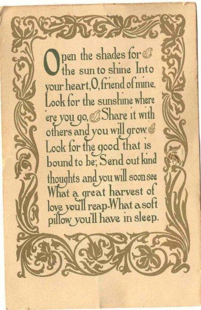 old vintage Sunshine Poem