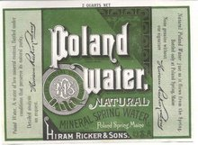 Hiram Walker Poland Water Label 1930s
