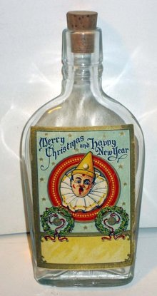 CLOWN WHISKEY FLASK * OLD VINTAGE 1900S MERRY XMAS NEW YEARS Clown Whiskey Glass Flask