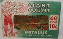 old vintage 1960s GIANT FOIL XMAS SEALS in Original Envelope Sealed