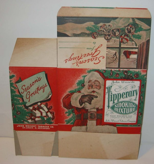 old vintage 1940s TIPPERARY TOBACCO SANTA CLAUS BOX