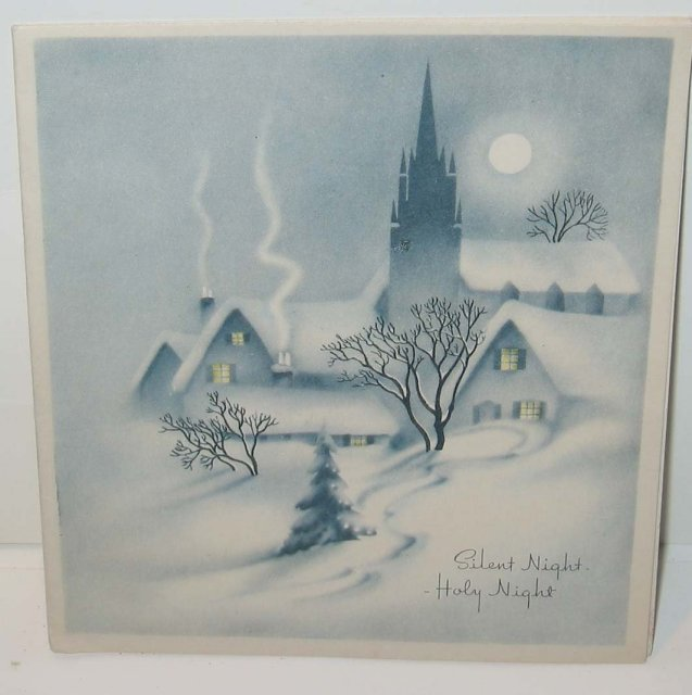 old vintage SILENT NIGHT Holiday Greeting Card * Harrison